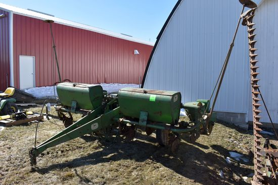 "John Deere 494 Planter, 4Row 38"", D/F. Markers, Looks Complete"