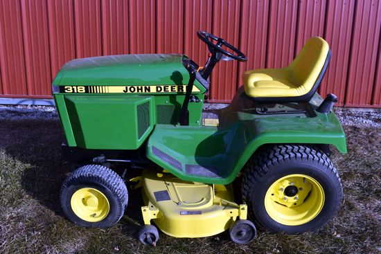"John Deere 318 Garden Tractor, 50"" Deck, Hydro, 800 Hours On Overhauled Engine, New Paint"