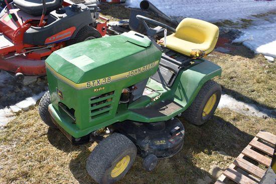 "John Deere STX 38 Garden Tractor, 38"" Deck, 13hp, Hydro, Cracked Hood, Not Running"