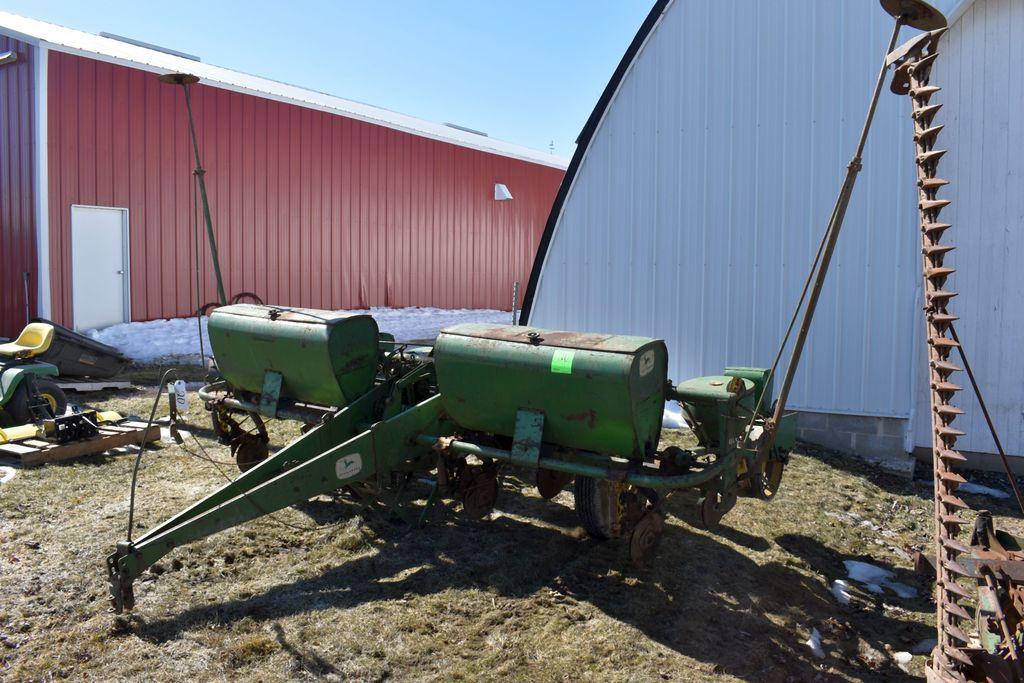 "John Deere 494 Planter, 4Row 38"", D/F. Markers, Looks Complete"