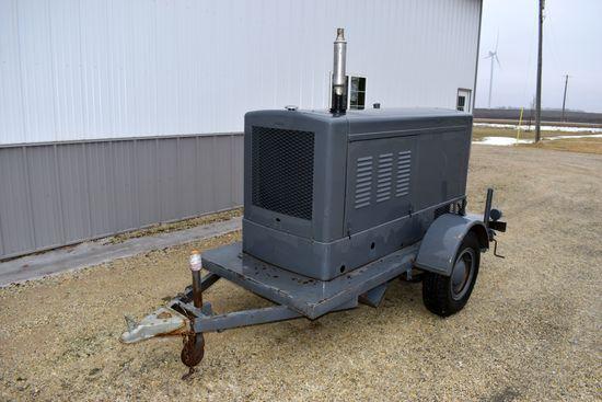 Onan Portable Generator, Model 45EF, 45Kilowatt, Ford V8 Industrial Gas Engine On 9' Single Axle Tra
