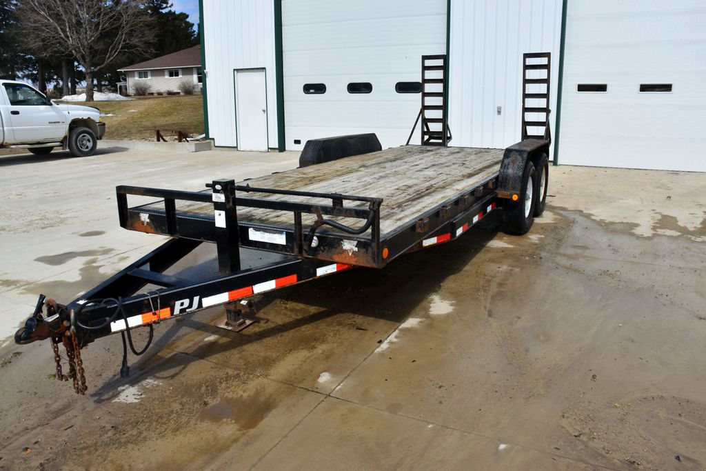 "2011 PJ, 20' Tandem Axle Trailer, 7,500 LB Axles, Flip Up Ramps, 7' Wide Bed, 16"" Tires"