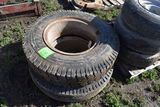 (2) 9.00-20 Truck Tires With Rims, Selling AS One Money