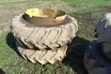 Goodyear 16.9x38 Band Duals, On Rims, Weather checked