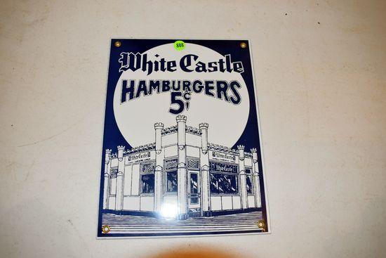 Porcelain White Castle Hamburgers Sign, 12''x9''