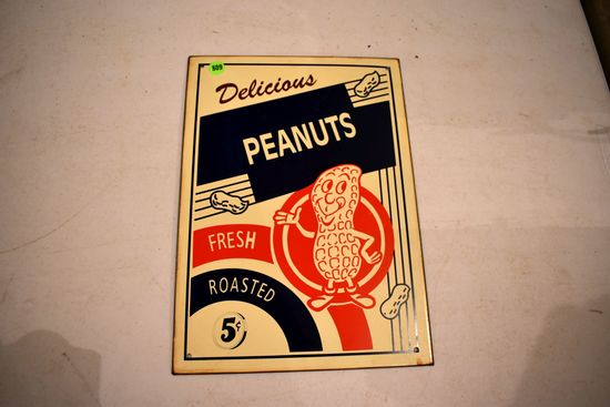 Tin 5 Cent Peanut Sign, 14''x10''