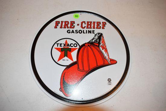 Tin Texaco Fire Chief Gasoline Sign, 12''