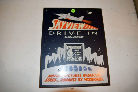Tin Skyview Drive In Sign, 11''x14''