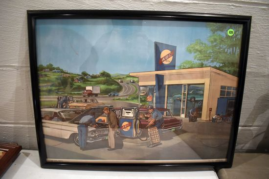 Russell Clymer ABC Oil Company Picture In Frame, 24''x19''