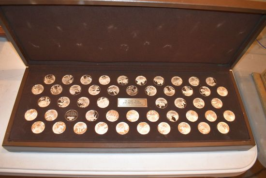 The Medallic History Of The American Revolution Sold Sterling Silver Coin Set In Wooden Display Box,
