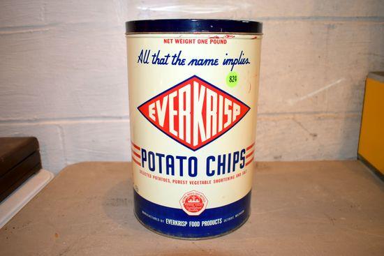 Everkrisp Potato Chip Tin, 11'' Tall