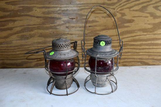 Adlake Railroad Lantern, Dressel Railroad Lantern, Both Have Red Lenses