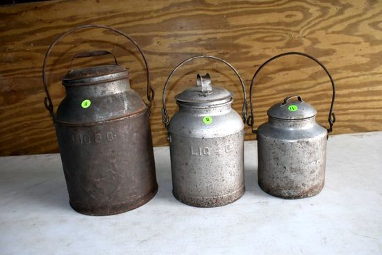 (3) Covered Milk Cans