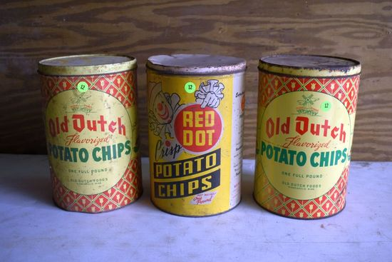 (3) Potato Chip Tins, Old Dutch And Red Dot