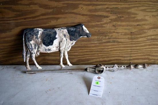 Cow Weathervane, Pot Metal, 28'' Long By 10'' Tall