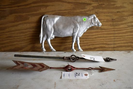 Pot Metal Cow 14.5'' Long By 9'' Tall,  With 21.5'' Vane And 19'' Vane