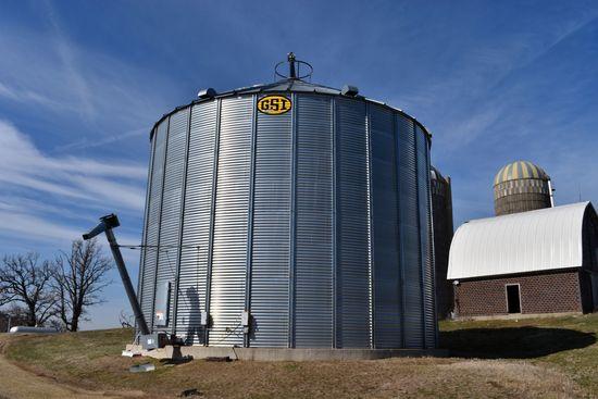 "2015 GSI, 40,000 Bushel Grain Bin, Full Air Floor, Power Sweep, 10"" Semi Unload Auger, 2-7.5hp Singl"