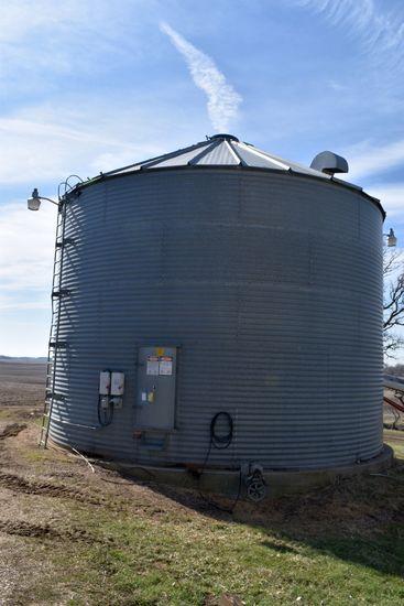 9,000 Bushel Drying Grain Bin With Sukup D0301 Drying Fan, Drying Floor, 5hp Fan, Burner, 27' Diamet
