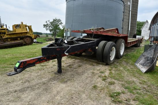 1965 Lo-Boy Semi Trailer With Front Dolly, Draw Bar Hitch, 23' With 5' Beaver Tail, Dolly Has Frozen