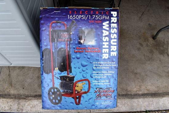 Extreme Kleen Electric Pressure Washer, New In Box, 1650 PSI, 1.75 GPM, 35 Ft Electrical Cord, 25 Ft