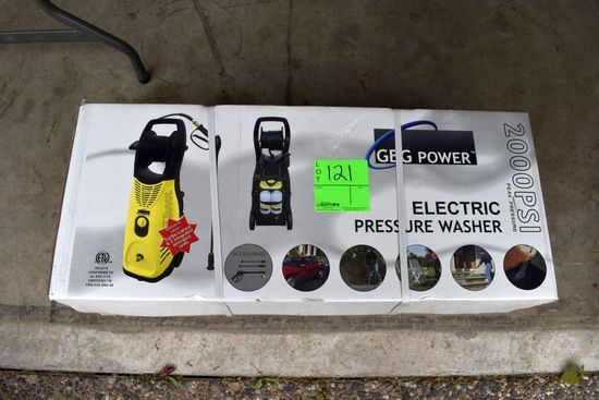 GBG Power Electric Pressure Washer, New In Box, 2000 PSI, 1.6 GPM, 22' Hose With Wand, 35' Electric