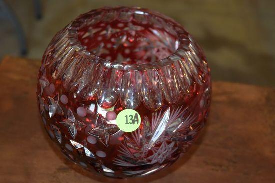 Red Cut Crystal Vase