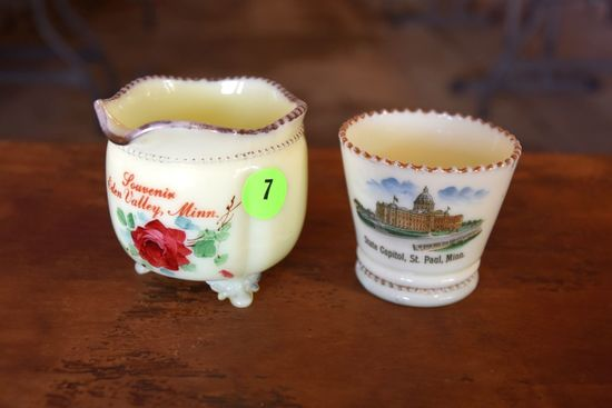 (2) Pieces Of Custard Glass, State Capitol St.Paul MN, And Edin Valley MN