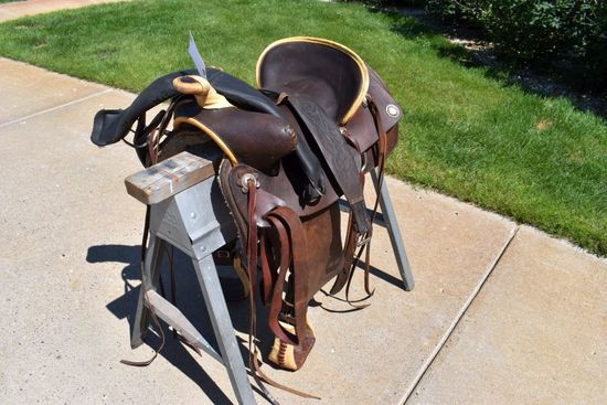 """16"""" Seat High Back Western Saddle, With Rawhide Accents"""