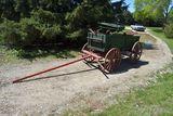 Wooden Wheel Double Box Horse Wagon, Restored