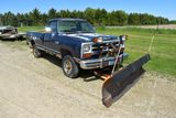 1990 Dodge Power Ram, 4 x 4, Diesel, With Meyers Snowplow, Runs And Drives, Automatic, Floor Is Rust