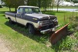 1969 Ford F250 Sport Custom 4 x 4, 390V8, 4sp, With Snowplow, Non Running, Has Sat Outside For Many