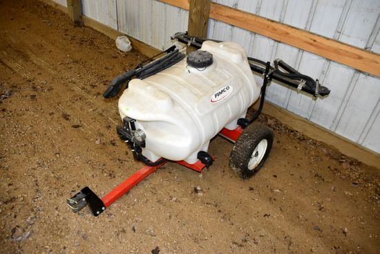 Fimco 40 Gallon Trailer Type Lawn Sprayer, Fold Out Booms, Wand, 12 Volt Pump, PICK UP ONLY,SEE DATE