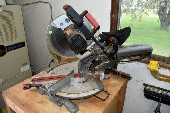 Crafstman Professional Compound Sliding Miter Saw, 12' Blade, Sells With Wooden Cabinet, PICK UP ONL