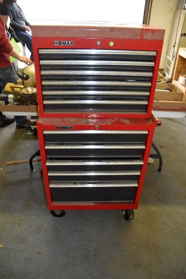 Homak 10 Drawer Top And Bottom Tool Box, PICK UP ONLY,SEE DATES/TIMES ABOVE IN NOTES, NO SHIPPING AV
