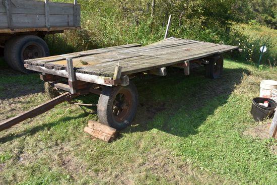 7'x14' Flatbed Hay Rack On Running Gear, Spoke Wheels, Poor Shape