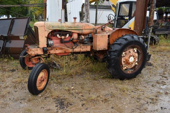 Allis Chalmers WD Gas Tractor, W/F, 13.6x28 Tires, Fender W/ PTO Vertical Log Splitter, PTO, 3 Point
