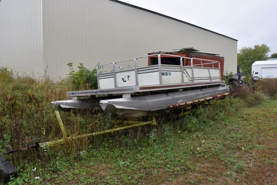 1986 Kennedy 20' Pontoon, With Mercury 40 HP Outboard Motor, No Controls, Non Running, Shop Built Si