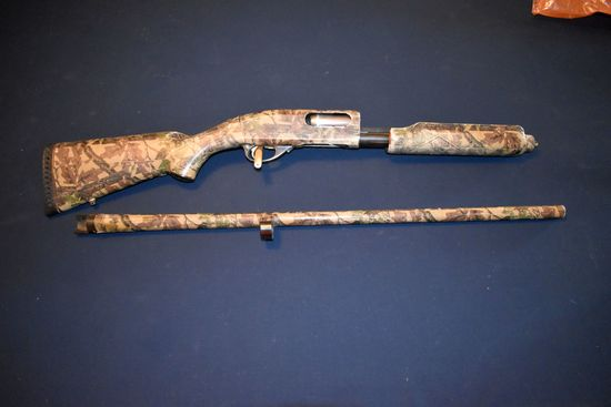 Remington Model 870 Magnum, 12 Gauge, Wrapped In Camo Tape, Pump Action, Vented Ribbed Barrel