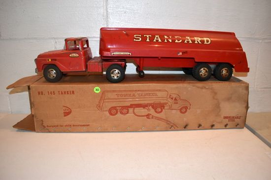 1960s Tonka No.145 Tanker Truck, With Original Box, Box Is A Little Rough