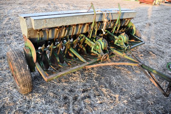 "John Deere Van Brunt, 8' Grain Drill, Grass Seed Attachment, 6"" Spacings, Low Rubber, Mechanical Lif"