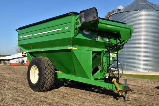 "J & M 875 Grain Cart, Roll Tarp, 18"" Unload Auger, Hyd. Spout, 30.5-32 Diamond Tread Tires, Large 10"