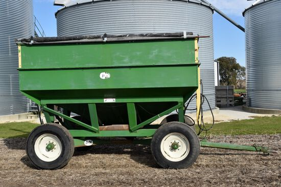 J & M 350-20 Gravity Box, Double Compartment, 13 Ton Gear, Roll Tarp, 13' MJM Hydraulic Brush Auger,