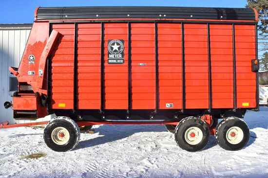 Meyers 4516 TSS Forage Box, 16', Unload Extension With Meyers 1200 Series Running Gear, 12 Ton Tande