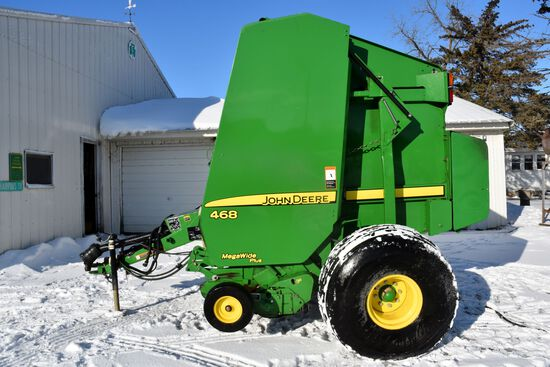 John Deere 468 Round Baler, Mega Wide Plus, Cover Edge, 8,781 Bales, Net Or Twine Wrap, SN: X353274