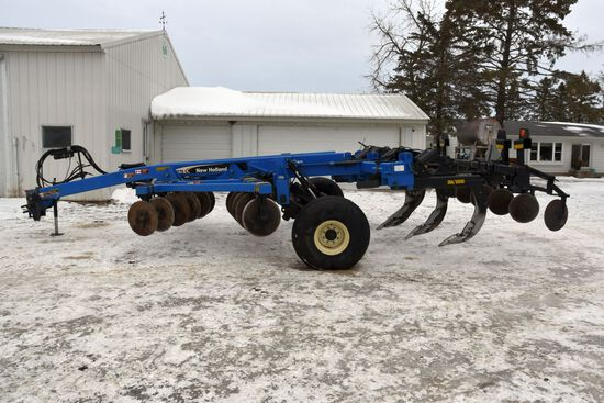 New Holland DMI ST770 Ripper, 5 Shank, Double Disc Front, Rear Levelers, 16.5-16.1 Tires, Good Condi