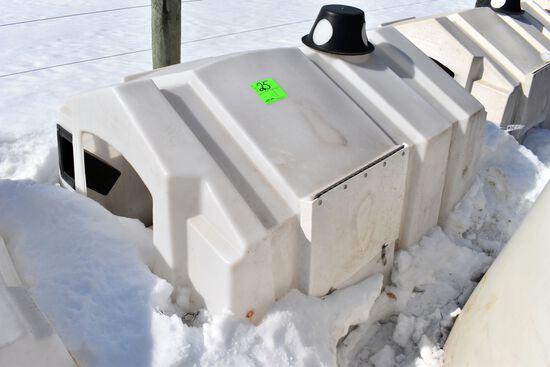 Poly Square Calf Nursery, No Rear Vent Door, Bucket Holders