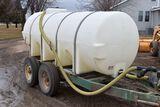 1,000 Gallon Poly Tank On Tandem Axle Trailer, B&S 9HP Motor & Pump, Banjo Fittings