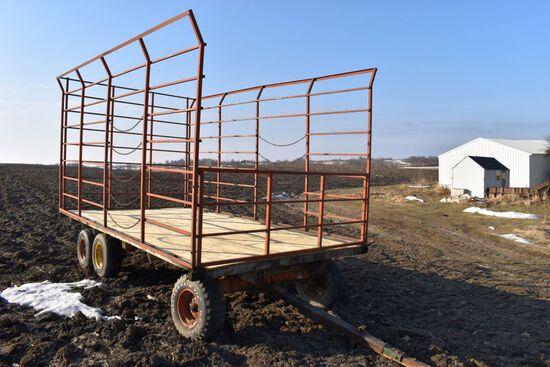 9'x16' Metal Bale Throw Wagon, 12 Ton Minnesota Tandem Running Gear, New Plywood Sheeting Floor