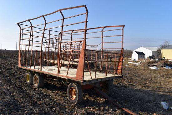 9'x16' Metal Bale Throw Wagon, 12 Ton Kewanee Tandem Running Gear, New Plywood Sheeting Floor