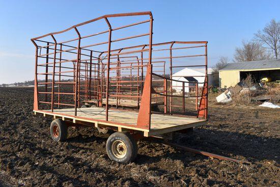 8'x16' Metal Bale Throw Wagon, 10 Ton Minnesota Running Gear, New Plywood Sheeting Floor And 4x4 Cro